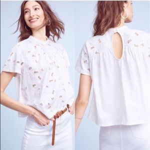 Anthropologie Akemi kin women smock eyelet